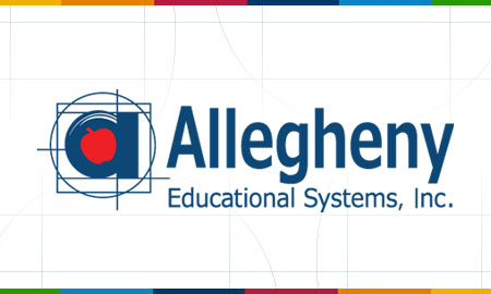 Allegheny Educational Systems Logo With Colored Bars