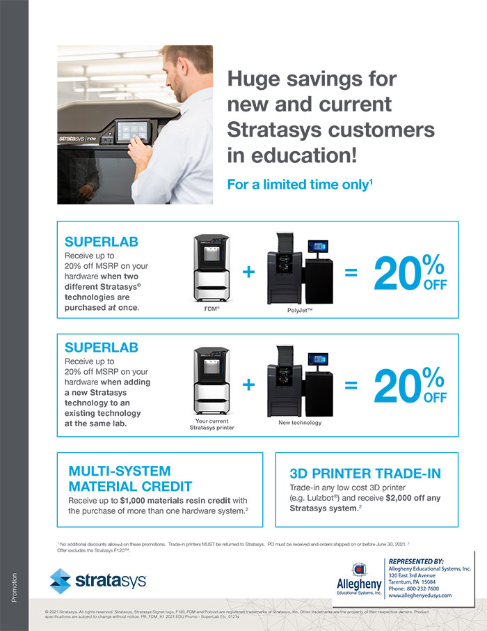 Allegheny Educational Systems Stratasys Q1 Promo Deals for Superlabs